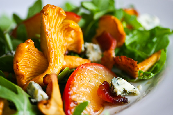 Chanterelle, Plum, Bacon Salad with Blue Cheese