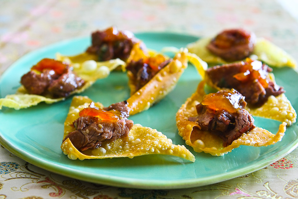 Korean BBQ Beef on Crispy Wonton Chip