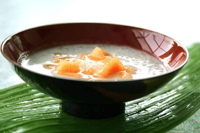Chilled Tapioca Pearls Recipe with Sweet Coconut & Melon