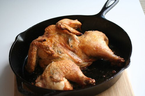 chicken in pan