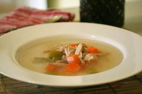 Soup served in a white bowl