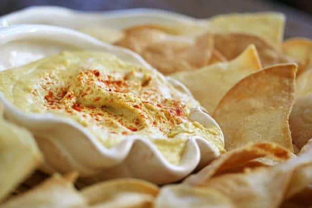 Smoky Hummus with Baked Tortilla Chips