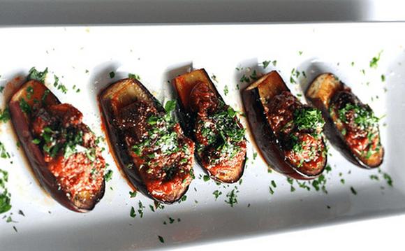 Roasted Baby Eggplant with Caponata Sauce