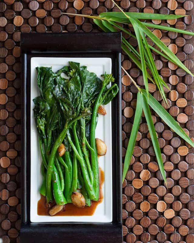 Gai Lan recipe with Oyster Sauce on plate