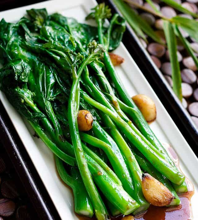 gai lan recipe on dish
