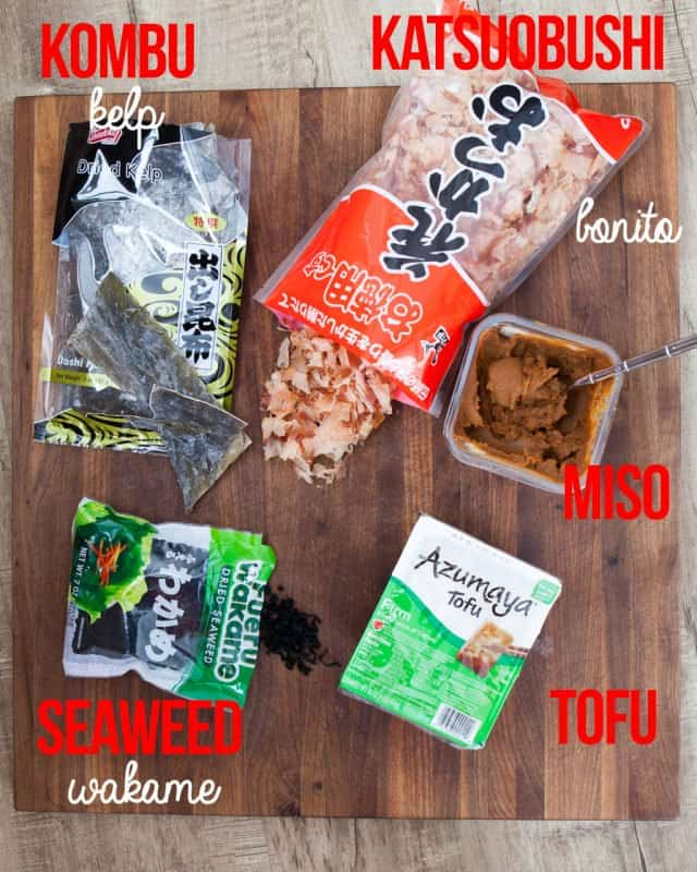 ingredients for miso soup recipes on board
