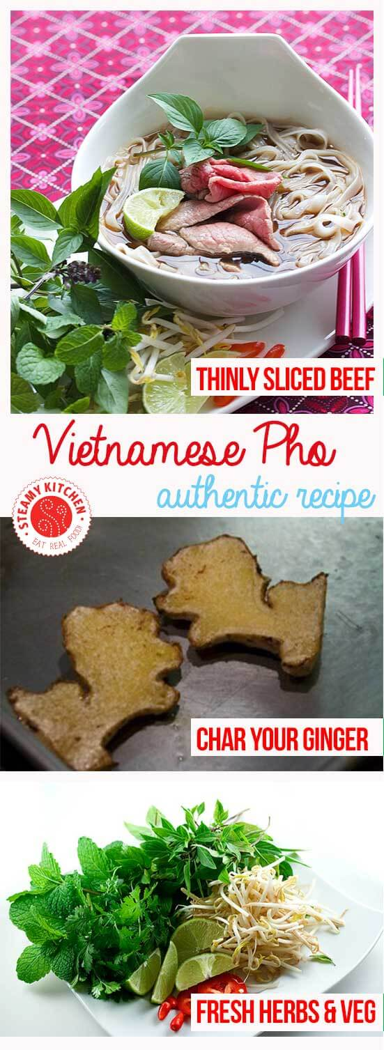 Authentic Pho recipe from award-winning cookbook author and foremost expert in Vietnamese cuisine, Andrea Nguyen. You'll learn: Best beef bones to use for Pho, Secret to clear, clean broth (no scum!), Tip for a deeper, more savory flavor in this Pho recipe.