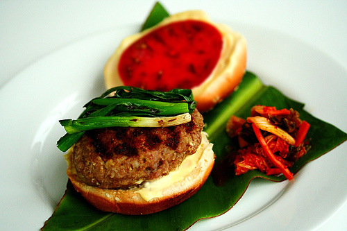 Asian pork burgers with kimchi