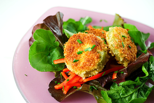Fried Green Tomato Salad with Sweet Chili Dressing