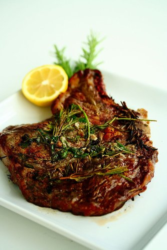 Grilled Garlic and Rosemary Ribeye Steak