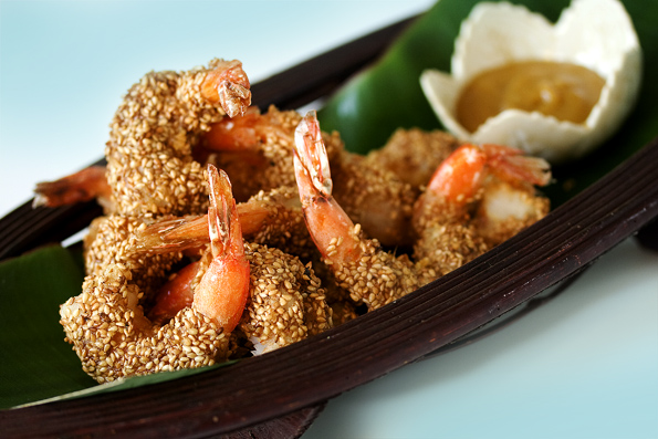 Chinese Sesame Shrimp with Honey Mustard Dipping Sauce