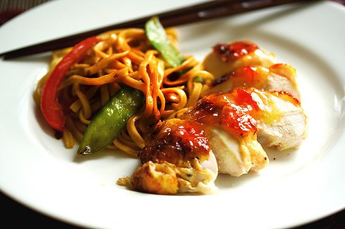 Roasted Chicken with Sweet Plum Sauce