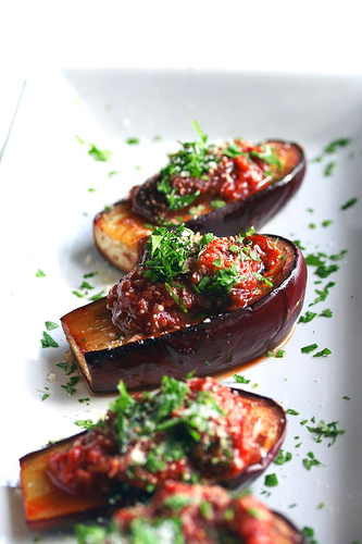 Roasted Baby Eggplant with Caponata Sauce