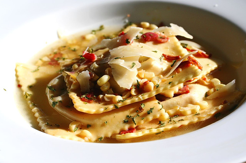 Vegetable Ravioli with Pancetta