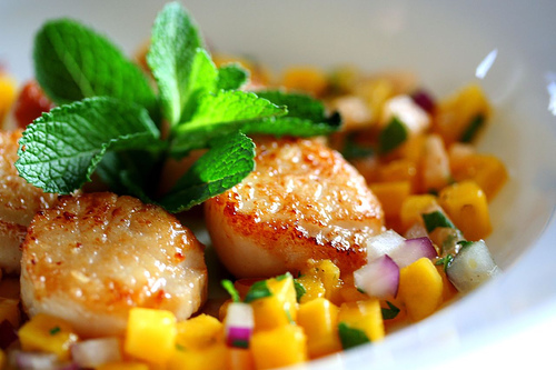 Seared Scallops with Mango-Melon Salsa