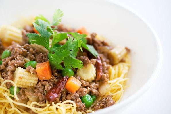 Ground Beef with Beijing Sauce Over Noodles