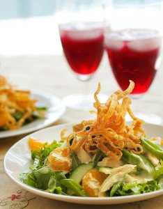Chinese chicken salad on a white plate