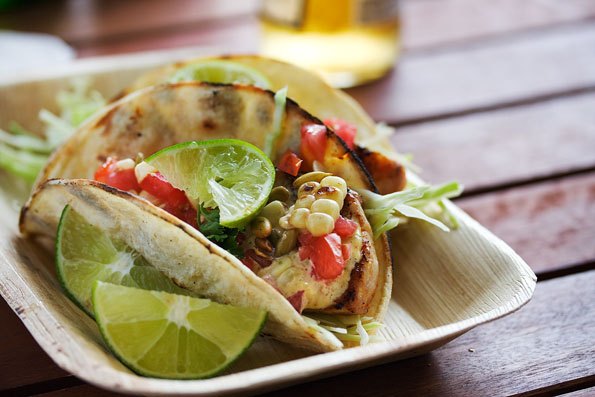Grilled Fish Tacos with Roasted Corn and Pepitas - Steamy ...
