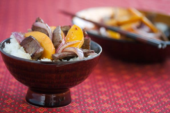 Stir Fried Beef and Nectarines