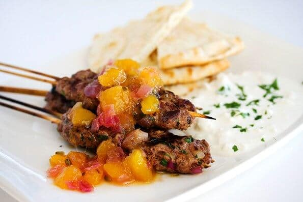 Lamb Kabob with Spicy Mango Salsa