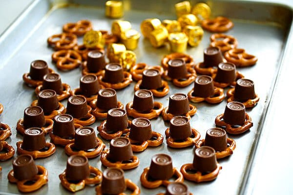 Rolo Pretzel Turtles on baking tray