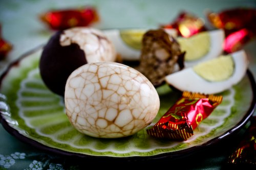 Chinese Marbled Tea Egg on plate