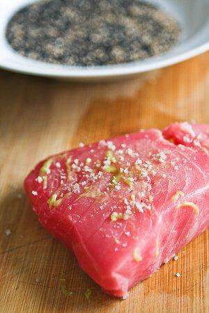 Sesame Seared Tuna with Lime Ginger Vinaigrette • Steamy ...