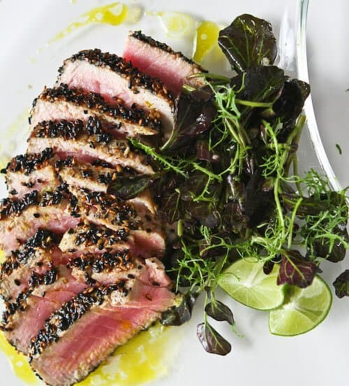 Sesame Seared Tuna with Lime Ginger Vinaigrette • Steamy Kitchen Recipes