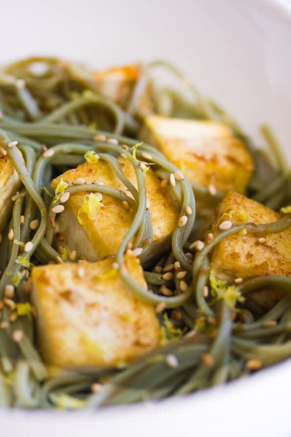 Tofu and Soba Noodles with Lemon Ginger Dressing