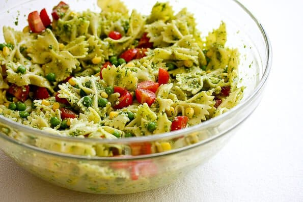 peas smoked almonds and dill pasta salad with herb pesto and peas