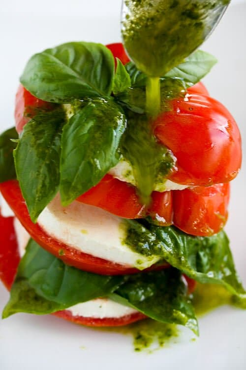 Caprese Salad with Basil Vinaigrette - Steamy Kitchen Recipes