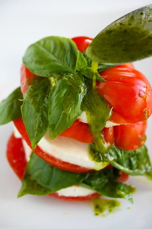 Caprese Salad With Basil Vinaigrette Recipe — Dishmaps