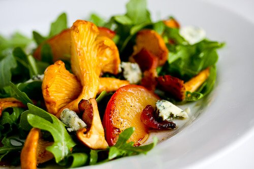 Chanterelle, Bacon and Plum Salad with Blue Cheese • Steamy Kitchen Recipes