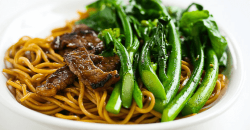 beef and noodles on plate