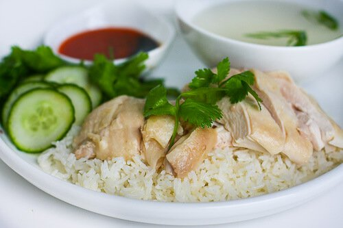 Hainanese Chicken Rice Recipe - Garnish with cucumber and cilantro