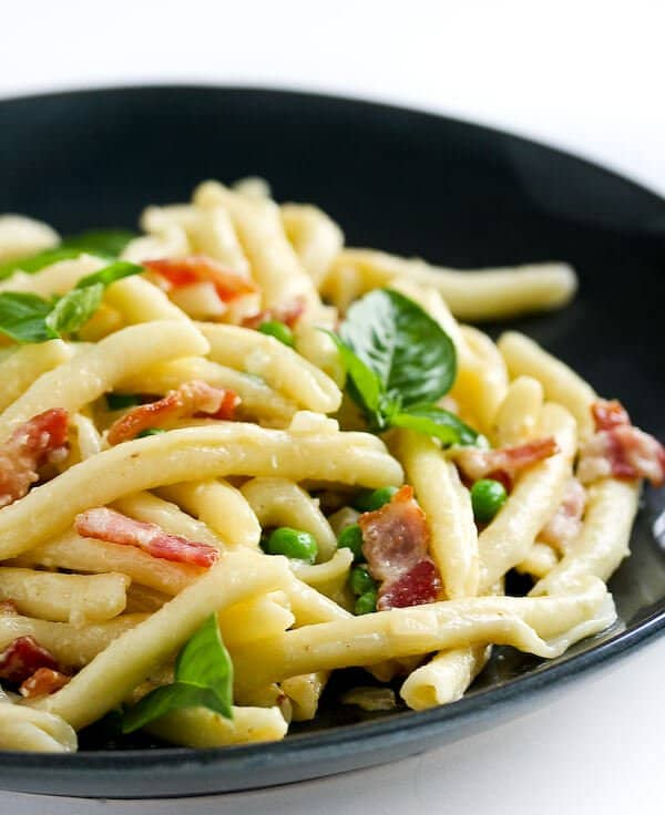 pasta peas bacon recipe