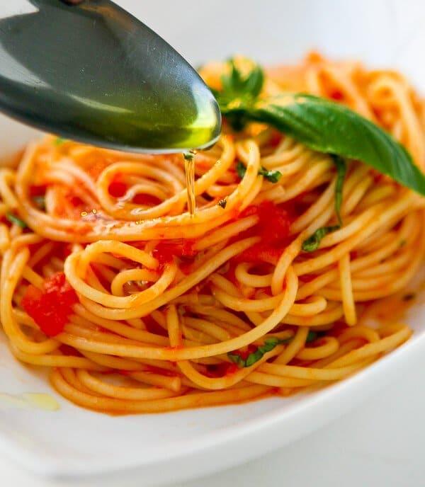 Drizzle with Garlic Basil Oil - Scarpetta's Spaghetti Recipe