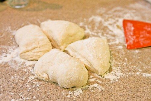 No Knead Baguette Recipe - Divide dough into 4 parts