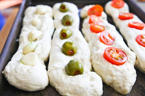 No Knead Baguette Recipe - embed garlic, olives and tomatoes
