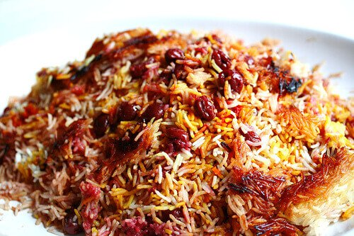Persian Sour Cherry Saffron Rice (Polow) - Steamy Kitchen Recipes
