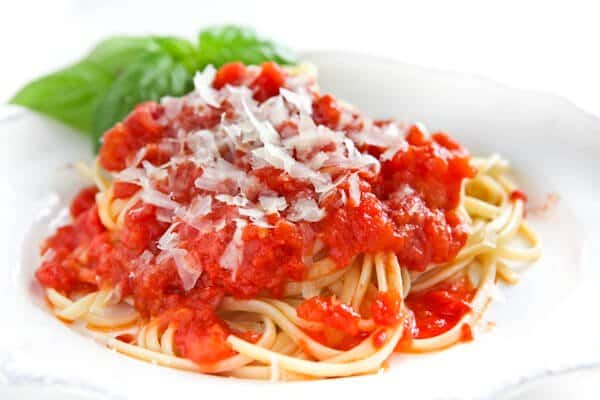 Marcella Hazan's Tomato Sauce with Onion and Butter - Steamy Kitchen ...