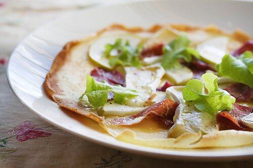 Crispy Crepes with Apple, Brie and Prosciutto