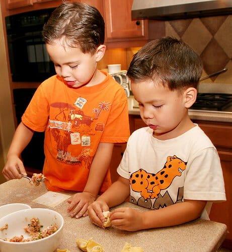 Kids Making Wontons