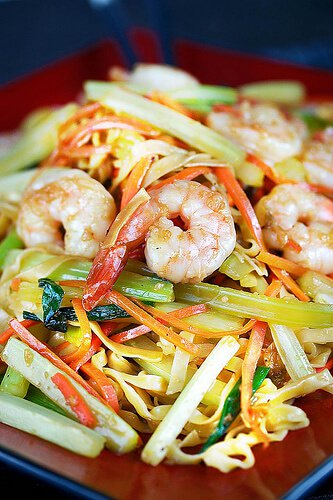 noodles and shrimp on plate