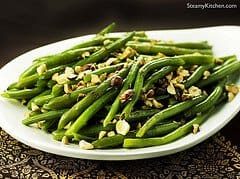 Green Beans with Garam Masala Butter and Toasted Hazlenuts