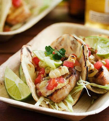 Grilled fish tacos with roasted corn and pepitas steamy for What kind of fish for fish tacos