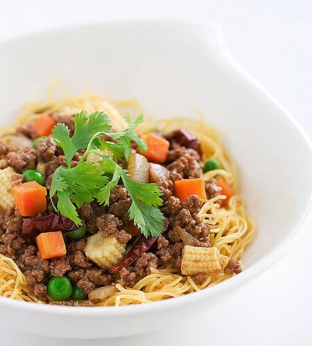Ground Beef with Beijing Sauce Over Noodles