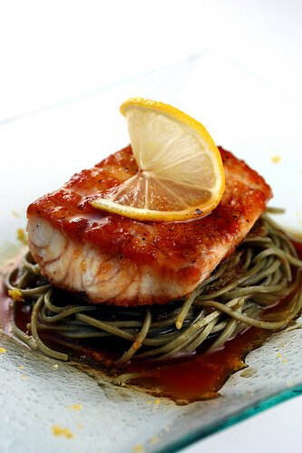 Citrus Soy Kampachi with Soba Noodles