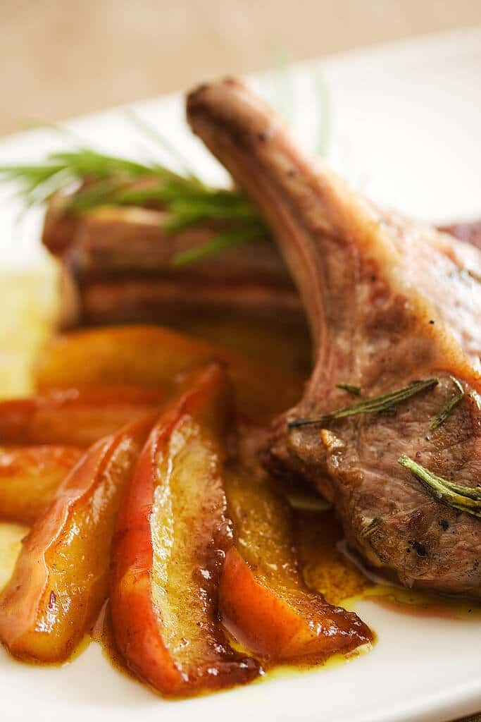 Lambchops with Curried Pears by Chef Kerry Simon