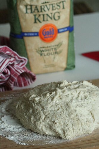 Dump out on floured surface, No Knead Bread Recipe